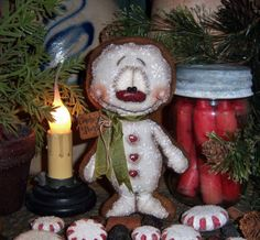 """Primitive Christmas Cookie Ornament 6"""" Gingerbread Doll Vtg Patti's Ratties Bear...for ordering information contact me at pattisratties3d@yahoo.com"""