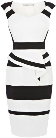 Karen Millen Colourblock Cotton Peplum Dress in White (black & white) | Lyst