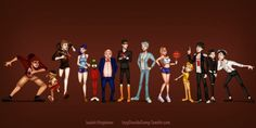 Looney tunes by IsaiahStephens.de... on @deviantART From Left to Right (Taz, Speedy Gonzales, Wile E. Coyote, Roadrunner, Marvin the Martian, Porky Pig, Daffy Duck, Bugs Bunny, Lola Bunny, Tweety Bird, Sylvester the cat, Penelope, and Pepe le Pew)