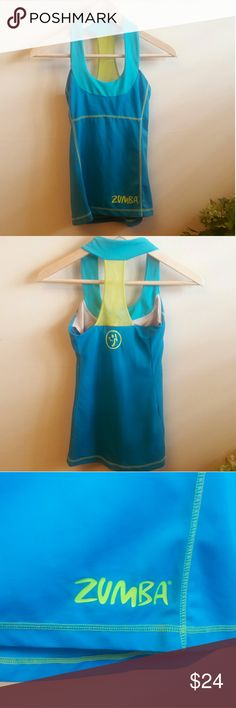 """Zumba Athletic Tank Top Great work out wear! Zumba tank top with bra attached. Measurements Pit to pit 12"""" Length 21""""  *A118 Zumba Tops Tank Tops"""