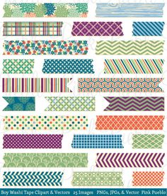 Boy Washi Tape Clipart Clip Art Vector, Japanese Floral Digital Washi Tape - Commercial and Personal by PinkPueblo on Etsy
