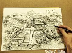 Desenho de perspectiva à mão livre com dois pontos de fuga. Autor: Talles S. Mattos #perspective #architecture #urban #sketch #art #arquitetapage #desenho