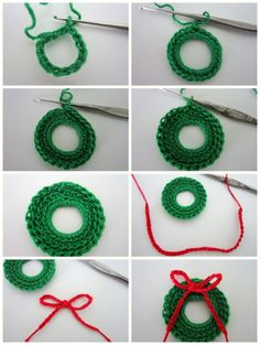 Lacy Crochet: Mini Christmas Wreath Free Pattern in case I ever learn to crochet. I love these. Would like to make a bunch to hang on tree.