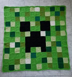 Custom Made Crochet 8-Bit Pixel Art Throw Blanket--Minecraft Creeper