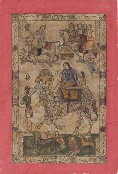 """Sayyid Muhammad Isfahanî Laylâ sur un chameau """"composite"""" formé d'innombrables figures humaines et animales, Vers 1860 Feuille: 283 x 169 mm (lithographie); feuille: 313 x 200 mm (surface écrite); feuille: 369 x 249 mm (montage) Lithographie colorée à l'aquarelle sur papier, monté sur carton rose Mention obligatoire : Cabinet d'arts graphiques des Musées d'art et d'histoire, Genève"""