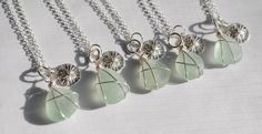 Bridesmaid Necklaces Aqua Sea Glass Jewelry by MommysDream on Etsy, $150.00