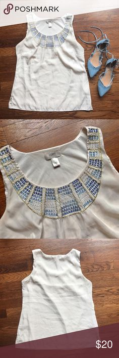Ann Taylor LOFT Embroidered Top Great condition! Soft cream top with a beautiful blue and gold embroidery detail  • 100% Polyester • Some minor pilling not very noticeable  • No Trading  • Reasonable Offers are Always Welcomed ✨ SALE PRICE TODAY ONLY •  Me For a Bundle Discount! Ann Taylor Tops