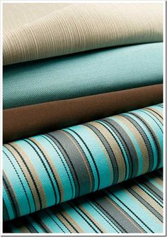 Sunbrella® Caroline Seabreeze in Blue, Tan & Gray Deck Awnings, Decoration, Interior Inspiration, Sewing Projects, Porches, Beach House, Diva, Fabric, Pattern