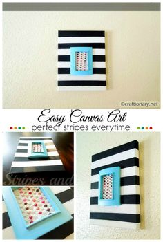 Easy canvas art with tutorial to paint perfect stripes everytime #canvas #art #stripes