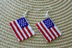 Independence Day American Flag Seed Bead Beadwork Earring Hand Made in the USA Patriotic Earring 2 Long Brick Stitch Earrings, Seed Bead Earrings, Beaded Earrings, Seed Beads, Beaded Jewelry Patterns, Beading Patterns, Beading Tutorials, Bracelet Patterns, Bead Loom Bracelets