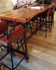 Stunning finished with a golden sleeper stain on Dark Design Palette, Restaurant Furniture, Industrial Interiors, Building Materials, Daily News, Drafting Desk, Restaurant Bar, Bespoke, Base