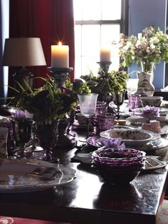 Fetching Images Of Purple Table Setting Decoration Design Ideas : Cool Picture Of Wedding Purple Table Setting Decoration Using Purple White Flower Wedding Table Centerpiece Including Really Tall Steel Vintage Candle Holders And Purple Glass Flower Vase