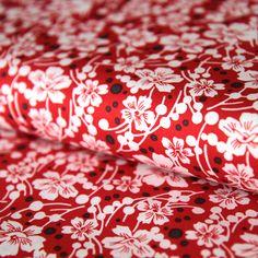 Bavlněná látka Bílé kytičky na červené Mimosa Scrappy Quilts