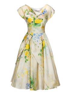 Lena Hoschek S/S 2014 Girlfriend Dress in Lemon Rose retro vintage mid century midcentury rockabilly full skirt flower flowers picnic yellow green