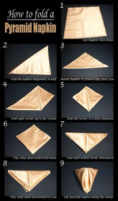 The Classic Pyramid Fold | 28 Creative Napkin-Folding Techniques This site has several more step by step techniques.