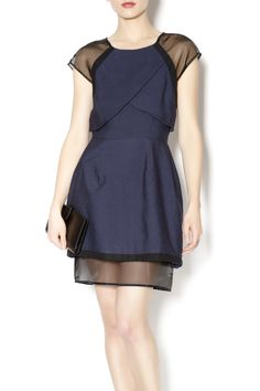 Absolutely stunning structural navy blue knee length dress with black sheer mesh detailing along the arm and hem with navy blue invisible zipper. With black patent pumps and a pair of statement earrings, this is the perfect dress for your next event.   Navy and Sheer Dress by Cameo . Clothing - Dresses - Night Out Clothing - Dresses - Wedding Wear Clothing - Dresses - Formal Houston, Texas