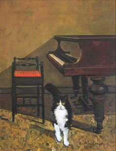 Ruskin Spear, Cat and Piano