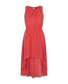 Teens Dark Pink Chiffon Dip Hem Dress | New Look
