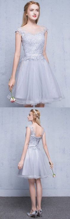 Short Prom Dresses Lace, Silver Homecoming Dresses 2018, A-line Party Dresses Scoop Neck, Tulle Cocktail Dresses Sweet