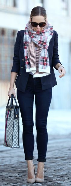 Plaid Scarf Outfit by Brooklyn Blonde