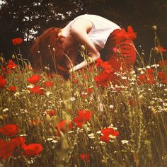 red hair, red poppies