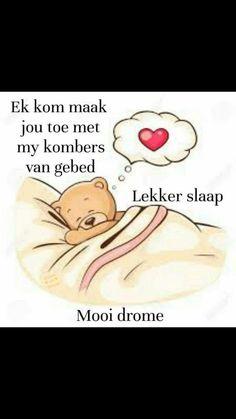 Lekker slaap Lekker Dag, Good Night Blessings, Goeie Nag, Afrikaans Quotes, Sweet Dreams, Emoji, Winnie The Pooh, Night Night, Fictional Characters