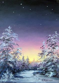 Winter Forest Painting - Trees By Star Light by Varvara Harmon Watercolor Trees, Watercolor Landscape, Landscape Art, Landscape Paintings, Watercolor Paintings, Forest Painting, Winter Painting, Winter Art, Painting Trees