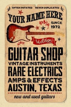"""YOUR NAME on a guitar shop poster Personalized -custom gift - 12""""x18"""" music room decor"""