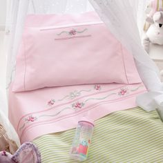 feminine pink and floral sheets.how luxurious ! Hand Embroidery Patterns Flowers, Baby Embroidery, Machine Embroidery Applique, Embroidery Fashion, Embroidery Designs, Baby Doll Bed, Doll Beds, Baby Sheets, Baby Bedding Sets