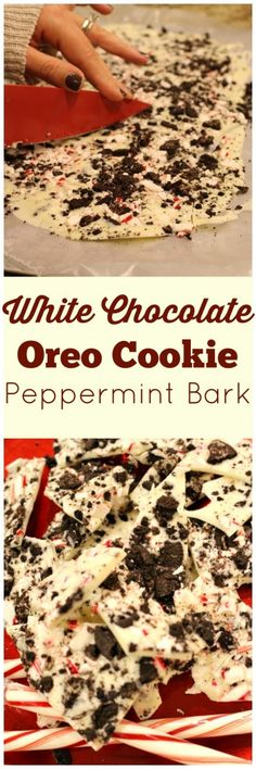 White Chocolate Oreo Cookie Peppermint Bark (next time thinner layers or only one) Christmas Sweets, Christmas Cooking, Holiday Baking, Christmas Desserts, Holiday Treats, Holiday Recipes, Office Christmas, Christmas Candy, Christmas Presents