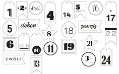 Adventskalenderzahlen zum Ausdrucken - miomodo Blog - DIY, Basteln, Verpacken & Verschenken