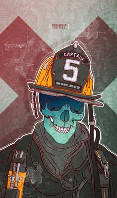 A self promotional illustration about the boyhood dream of many to become a fireman. The dangers that come with the job and form most of it's appeal are symbolised through the use of a skull.  Animal alphabet, a sneak preview (UPDATE 04) by Bart De Keyzer, via Behance  Check out www.3rd-floor.be or http://www.behance.net/bartdekeyzer for more.