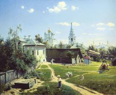 Polenov's celebrated painting of a traditional Russian courtyard (1878).