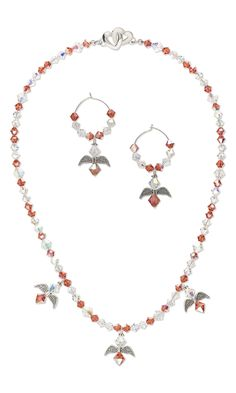 "Jewelry Design - Single-Strand Necklace and Earring Set with Swarovski Crystal Beads and Antiqued Silver-Finished ""Pewter"" Beads - Fire Mountain Gems and Beads"