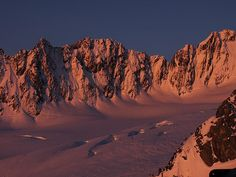 Alpenglow on some Alaskan style lines near Pioneer Hut, Fox Glacier Nevé, South Island, New Zealnd