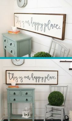 this sign would look great in our entry way/mudroom!| This is our happy place | wood sign | framed sign | gallery wall | custom sign | large wood sign | home decor | farmhouse decor | shiplap | afflink