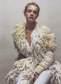 crazy | cool | boho | knit | lambs wool | tassels | cream | white | model | fashion