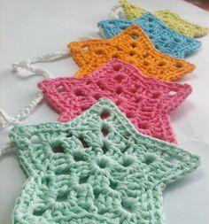 crochet bunting   Crochet Star Bunting by HandmadeByAllieCat on Etsy