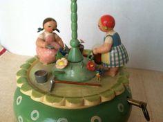 Erzgebirge German Vintage Music Box Wendt Kuhn Garden Bird Girls Spring Easter | eBay