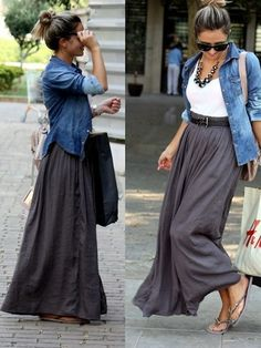White tee with a gray maxi skirt and a chambray shirt as a cardigan - Click image to find more womens fashion Pinterest pins