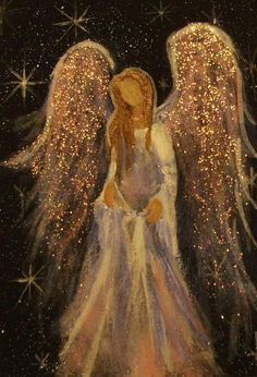 Acrylic painting by Cape Cod artist Breten Bryden, specializing in coastal, animal and angel art, also Antique Map colorationReally liking these glitter angel paintingsAngel with sparkly gold wings.The Angelic Realm.The Angel of Henderson (Christy Ly Christmas Angels, Christmas Art, I Believe In Angels, Angels Among Us, Angel Pictures, Angel Images, Guardian Angels, Christmas Paintings, Painting Inspiration
