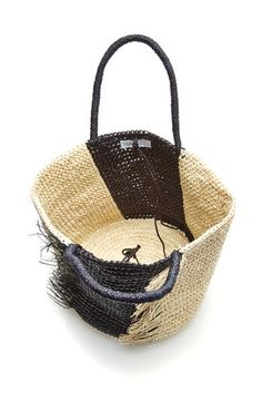 Medium Frayed Straw Tote by SENSI STUDIO