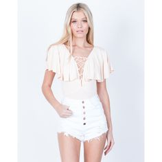 Rose Gold Buttoned Shorts ($36) ❤ liked on Polyvore featuring shorts, white denim, ripped shorts, high waisted stretch shorts, destroyed shorts, high waisted destroyed shorts and torn shorts