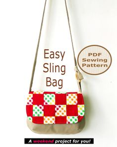 EASY SLING Bag Instant Download  - PDF Sewing Pattern And Tutorial by projectsbyjane on Etsy https://www.etsy.com/listing/128032783/easy-sling-bag-instant-download-pdf