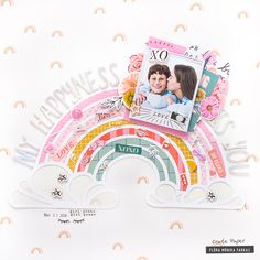 Rainbow Scrapbook Layout with Crate Paper All Heart collection and Rainbow cut file Crate Paper, 12x12 Scrapbook, Scrapbooking Layouts, Drama, Clear Stickers, Pink Paper, All Heart, Layout Inspiration, Paper Background