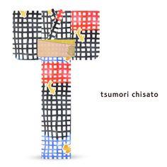 2016 Summer tsumori chisato Yukata Lattice Gold Cats Butterfly