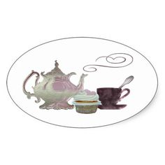 Pink Teapot, Teacup and Cupcake Art Oval Stickers