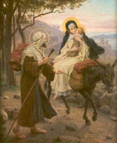 Maria van Zeven Smarten. 1903/10 Paneel door Jozef Janssens België, OLVrouwekathedraal 2) Maria's vlucht naar Egypte.