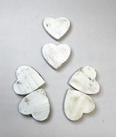 Rustic Cream Ivory OffWhite Heart Magnets by CountryUrbanGirl, $10.00