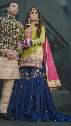Pakistani Mehndi Dress, Pakistani Fashion Party Wear, Pakistani Wedding Outfits, Pakistani Dresses Casual, Pakistani Wedding Dresses, Indian Fashion Dresses, Pakistani Dress Design, Indian Designer Outfits, Pakistani Gharara